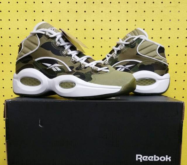 fad9f64a04a0 NEW Men s Reebok Question Mid Shoes Sz 7.0 Bape Camo White