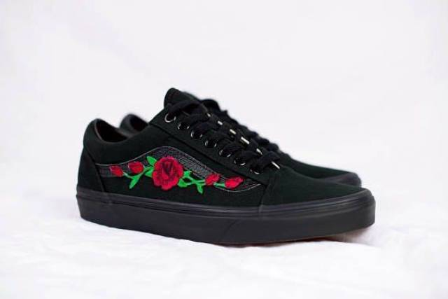 08485ec312 Black Vans Old Skool Rose Patch Embroidered