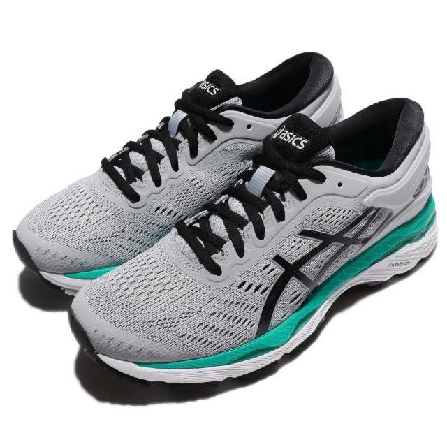 Asics Gel Kayano 24 Grey Black Green Women Running Shoes Sneakers T799N 9690