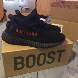 Yeezy 350 v2 black red bred si...