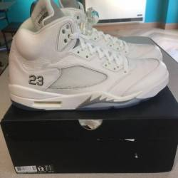 Air jordan retro 5 white metal...