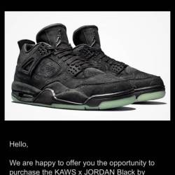 Kaws air jordan 4 black