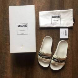 Moschino slides sandals white ...