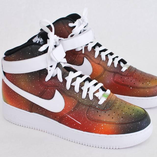 promo code 09bb0 ea3de Custom Solar Flare Galaxy Air Force One Nike Sneakers   Kixify Marketplace