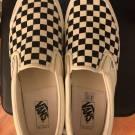 Vans Vault OG Classic Slip Ons White/Black Checkerboard Pattern. Mens